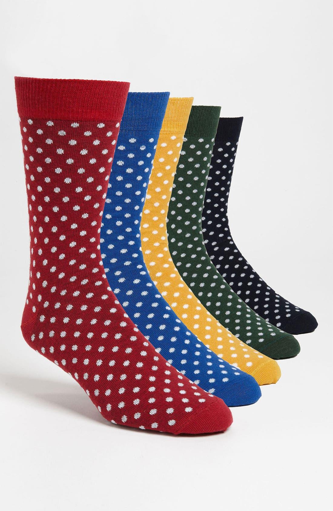 Alternate Image 1 Selected - Topman Polka Dot Socks (5-Pack)