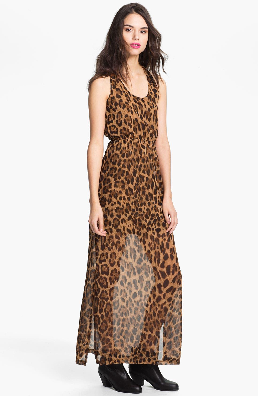 Alternate Image 1 Selected - dee elle Keyhole Back Print Chiffon Maxi Dress (Juniors)