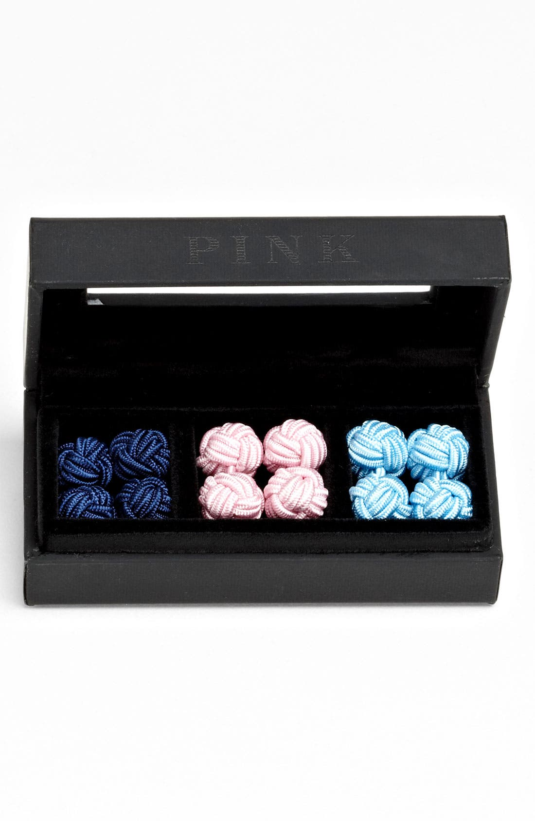 Main Image - Thomas Pink Knotted Cuff Links (Boxed Set of 3)