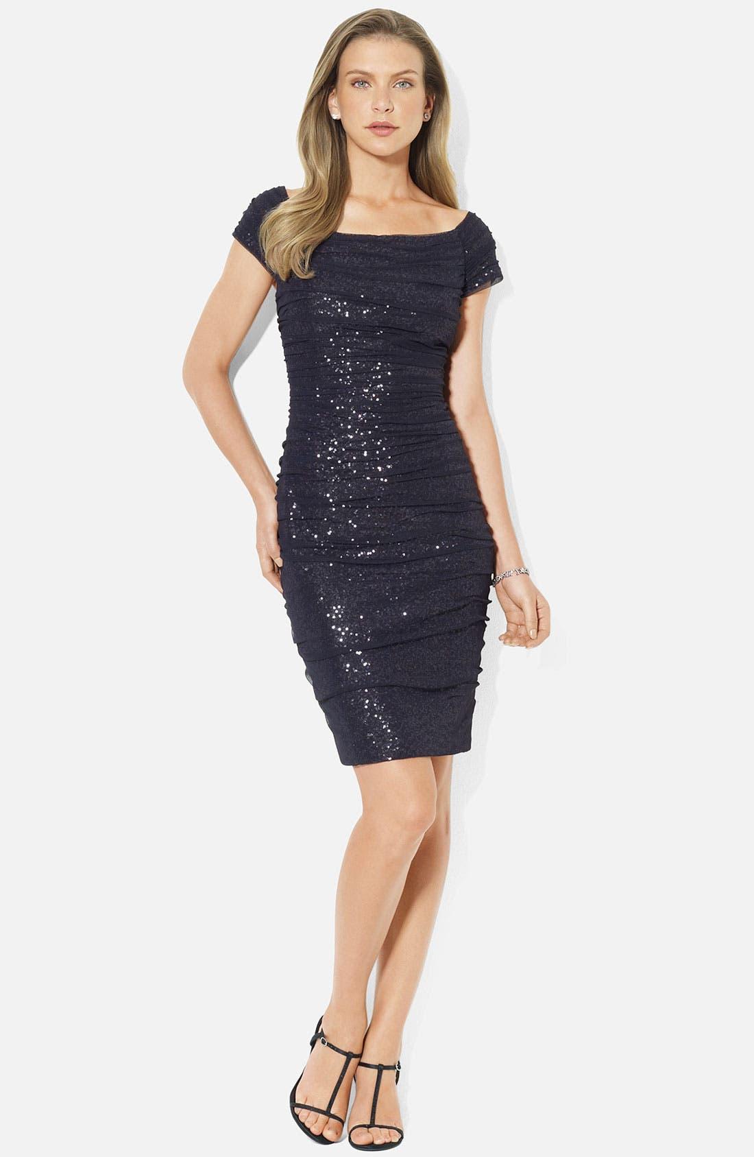 Main Image - Lauren Ralph Lauren Ruched Cap Sleeve Sheath Dress