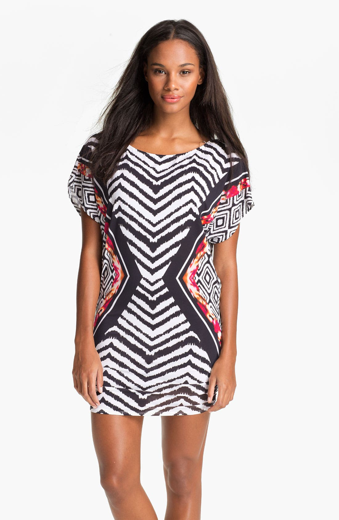 Alternate Image 1 Selected - Carmen Marc Valvo Mixed Print Cover-Up