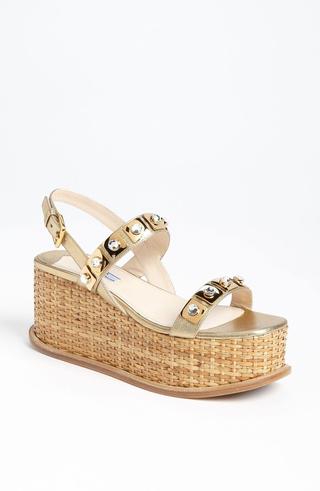 Alternate Image 1 Selected - Prada Two Strap Wedge Sandal