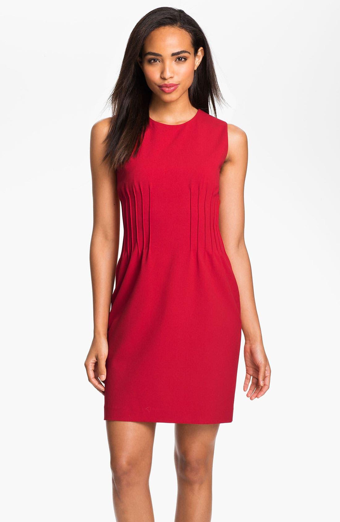 Main Image - Calvin Klein Sleeveless Pintuck Dress
