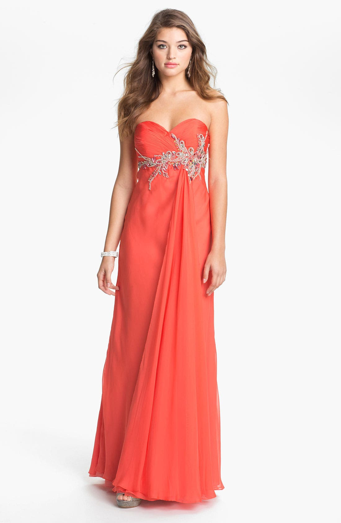 Alternate Image 1 Selected - Faviana Embellished Strapless Chiffon Gown (Online Only)
