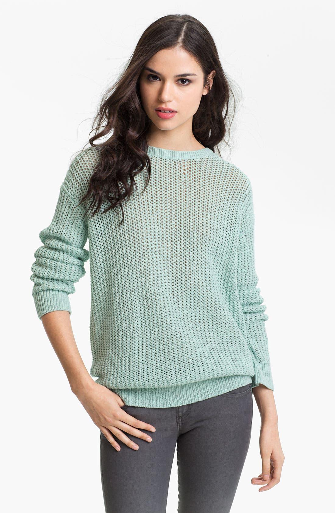Main Image - Trouvé Sheer Lattice Cutout Sweater