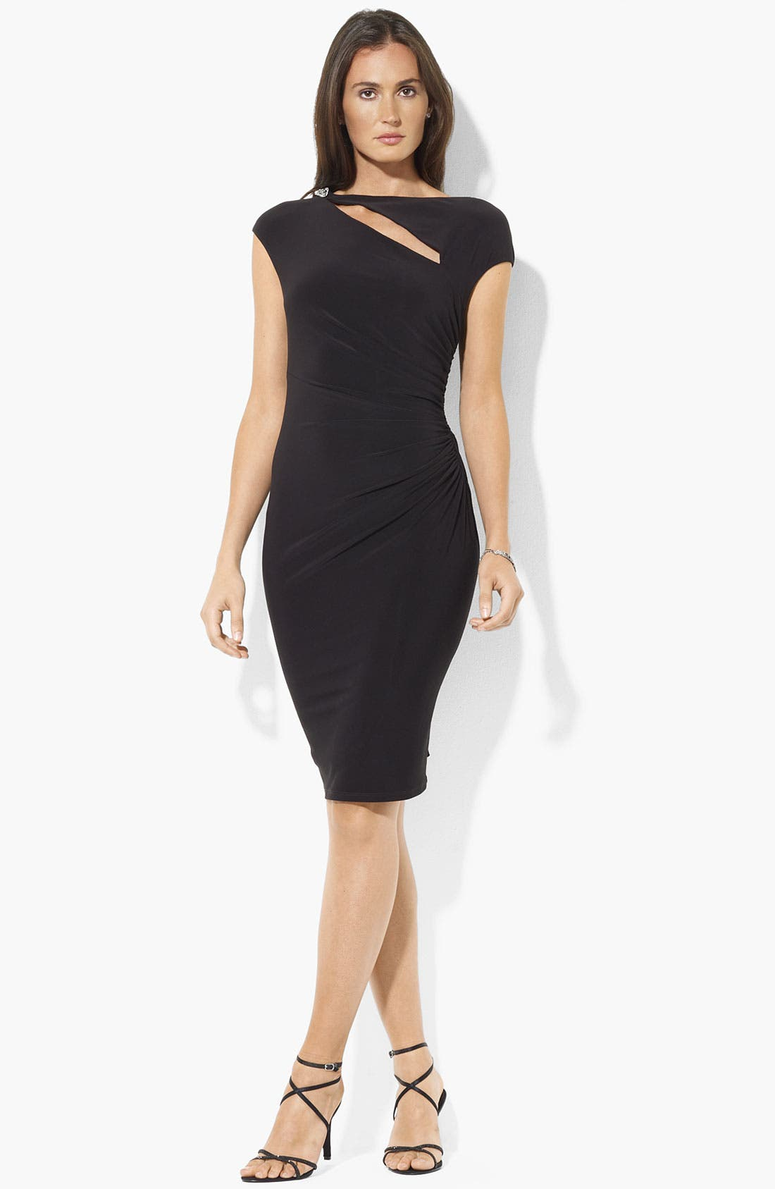Main Image - Lauren Ralph Lauren Cutout Detail Embellished Sheath Dress