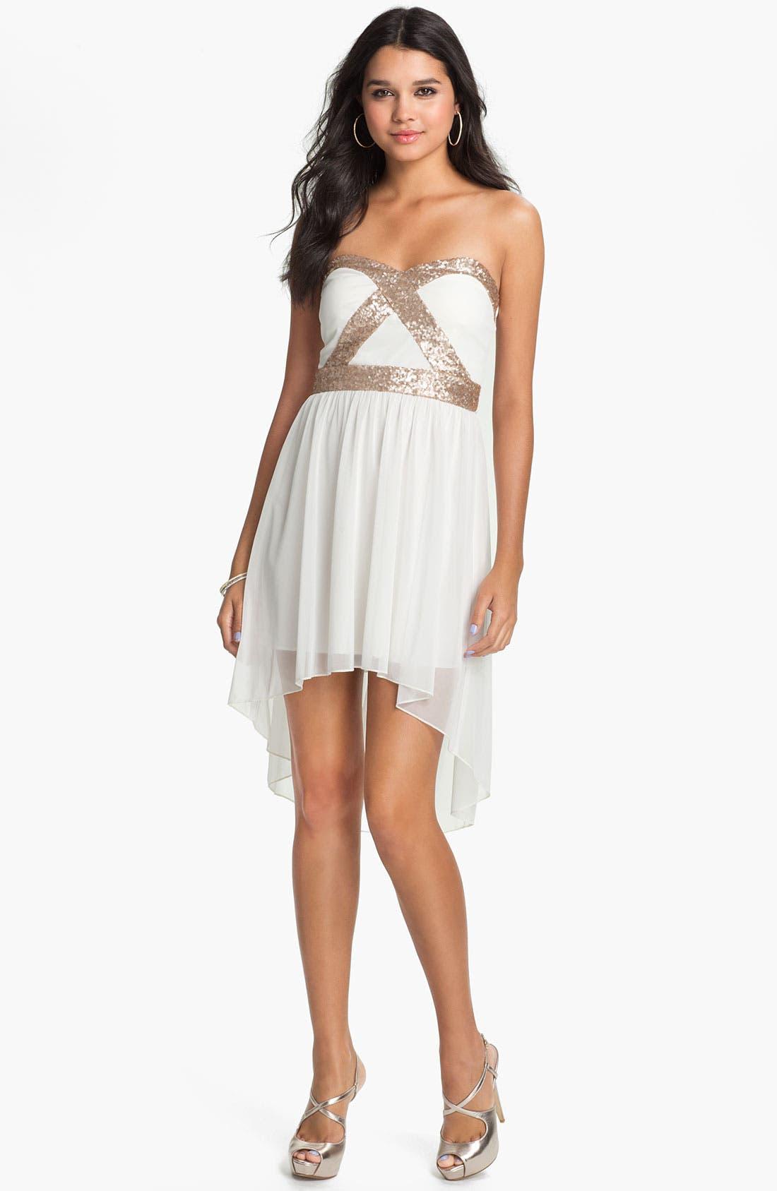 Main Image - Trixxi Sequin Strapless Goddess Dress (Juniors)