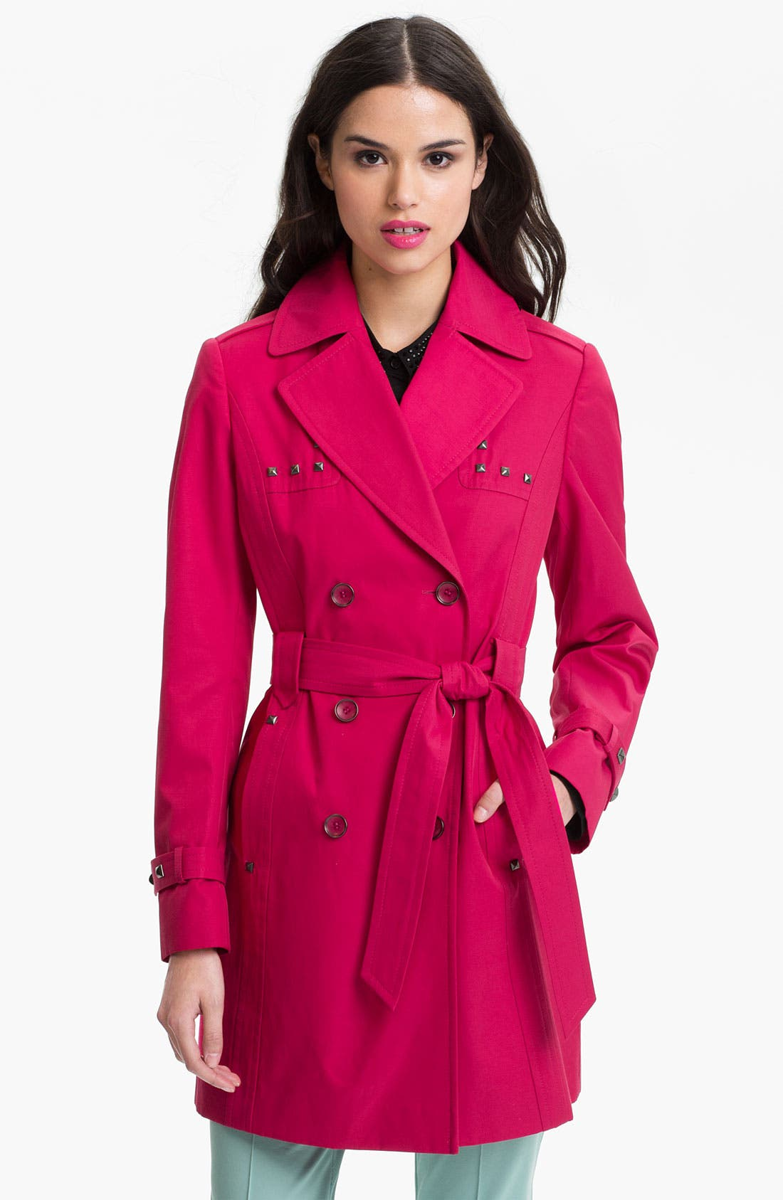 Main Image - Via Spiga Studded Double Breasted Trench Coat (Online Only)