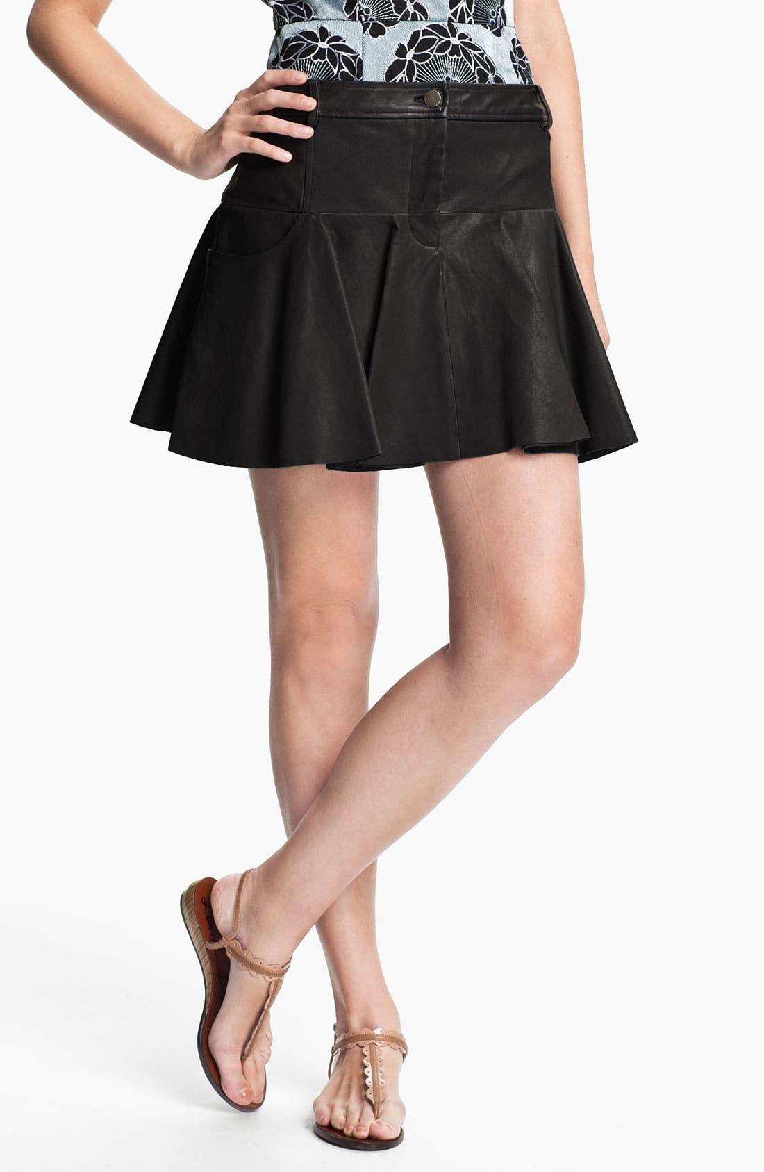 Alternate Image 1 Selected - Thakoon Addition Pleated Leather Miniskirt