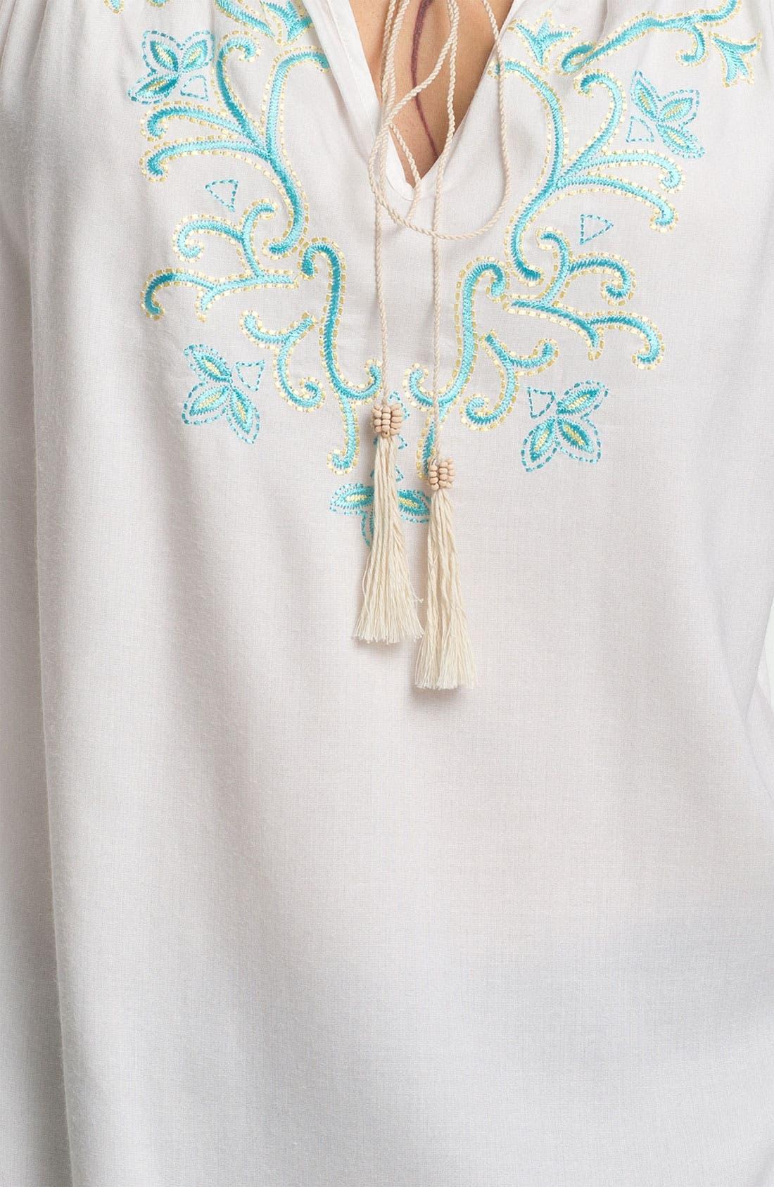 Alternate Image 3  - Karen Kane Tassel Tie Embroidered Blouse