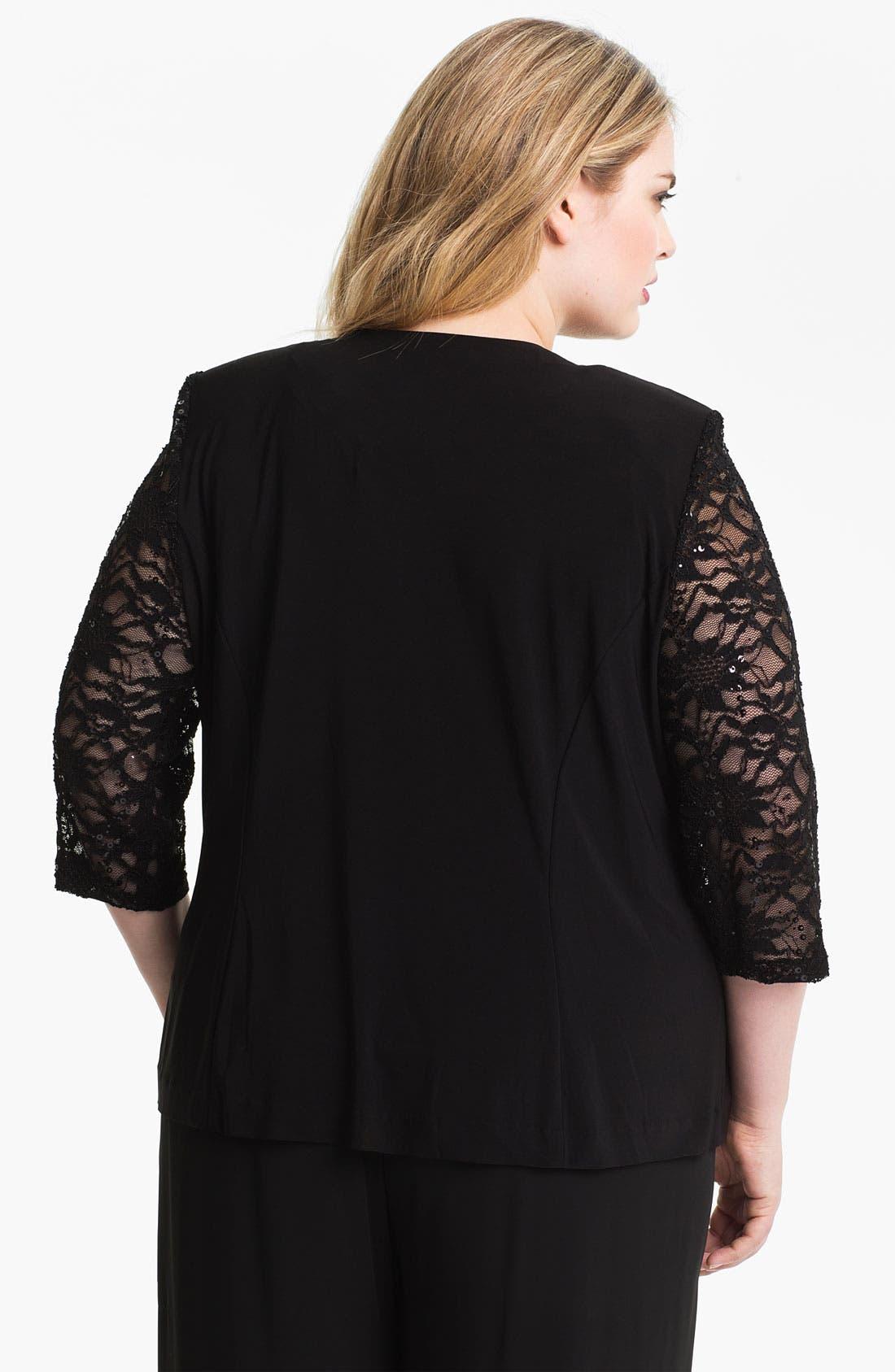 Alternate Image 2  - Alex Evenings Lace Sleeve Jersey Twinset (Plus)