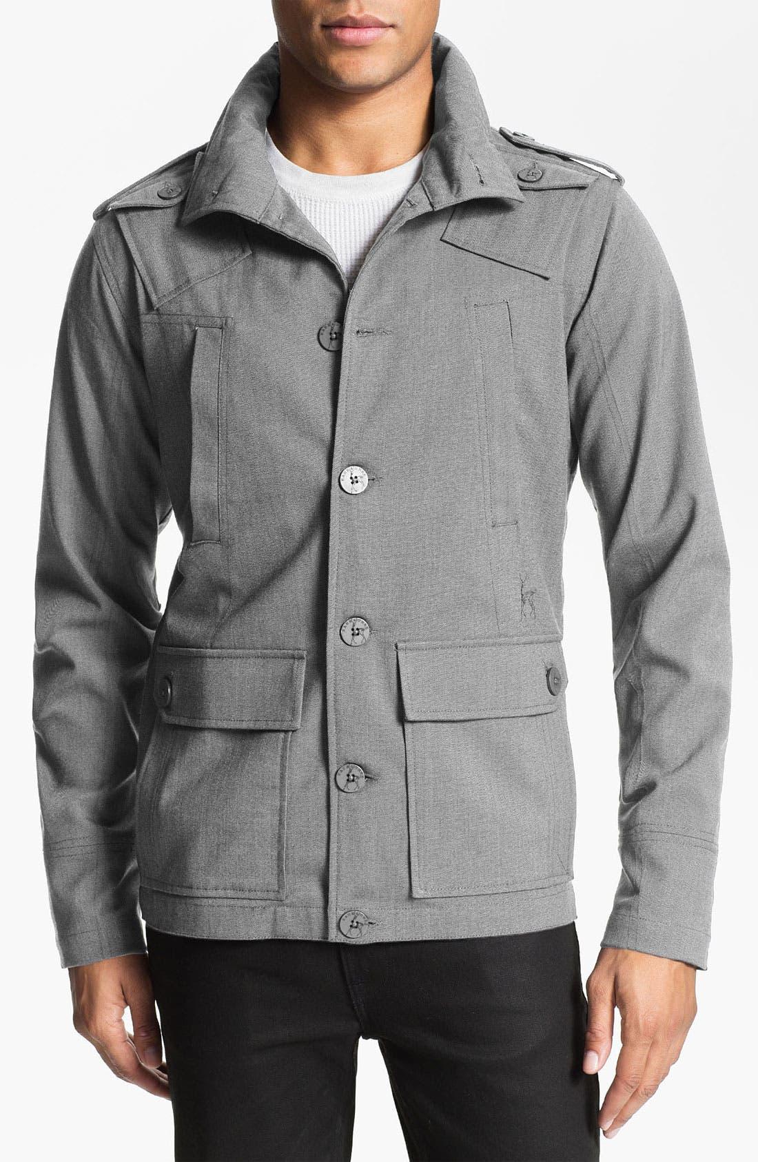 Main Image - Kane & Unke Herringbone Trim Fit Military Jacket