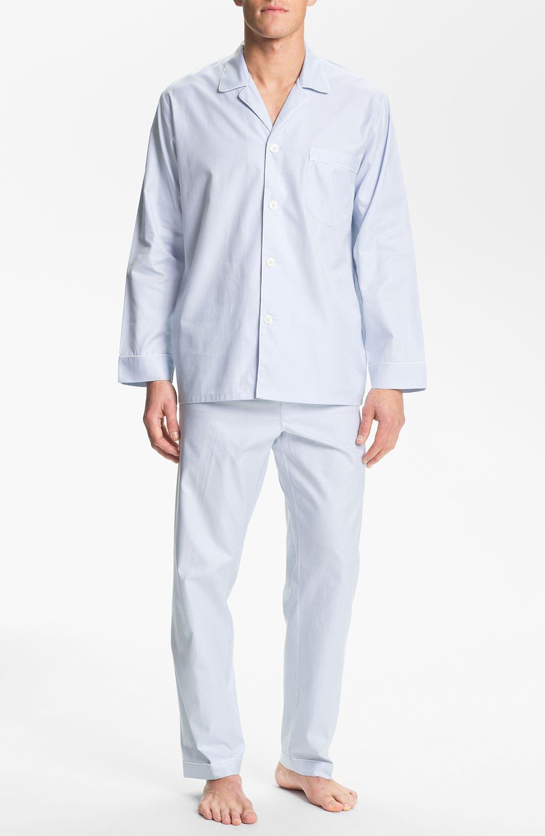 Herringbone Cotton Pajamas,                         Main,                         color, Surf