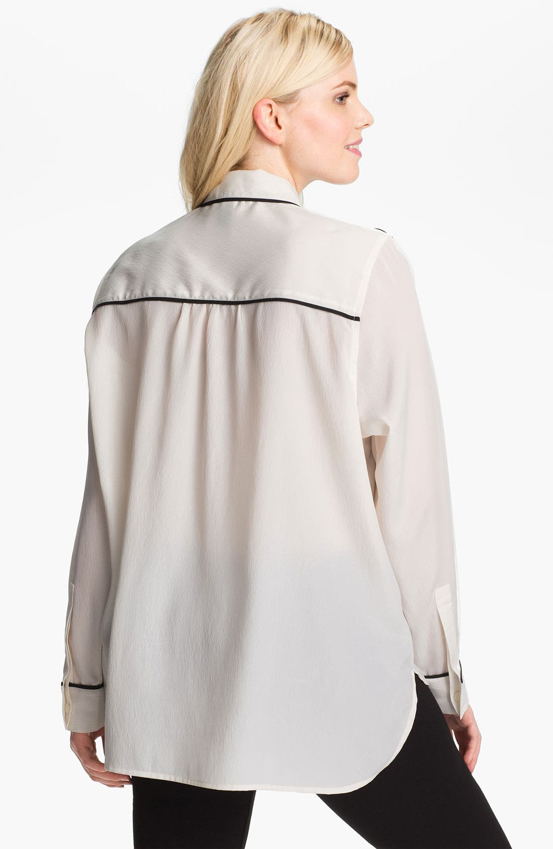 Long Sleeve Shirt,                             Alternate thumbnail 2, color,                             Black/ Ivory