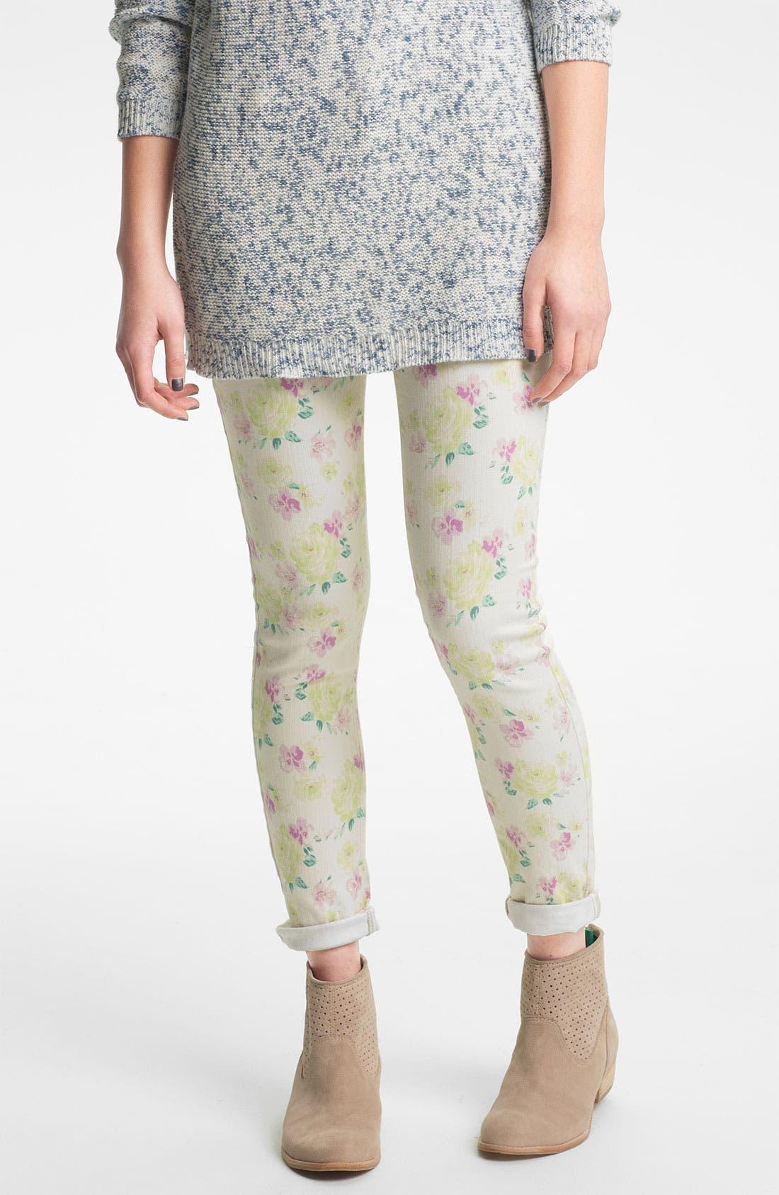 Alternate Image 1 Selected - Fire Floral Print Skinny Jeans (Juniors)