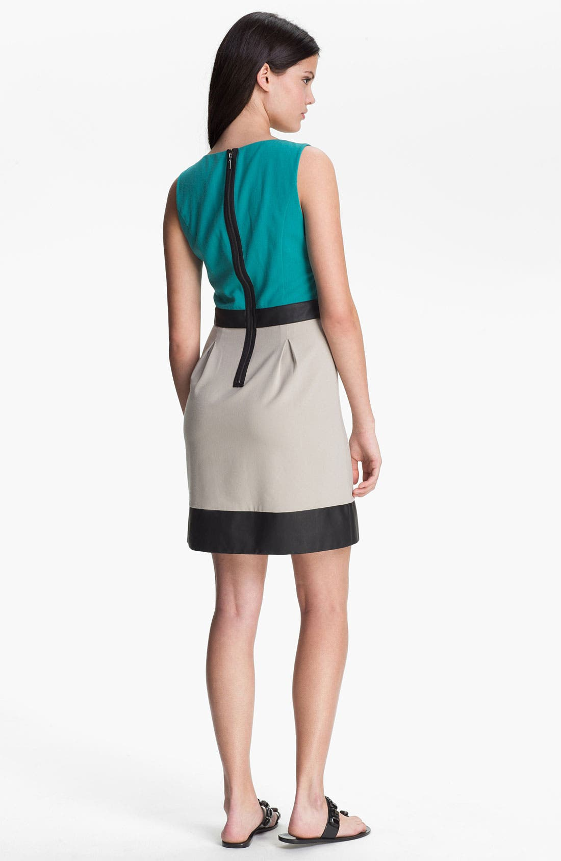 Alternate Image 2  - Kensie Faux Leather Trim Colorblock Dress
