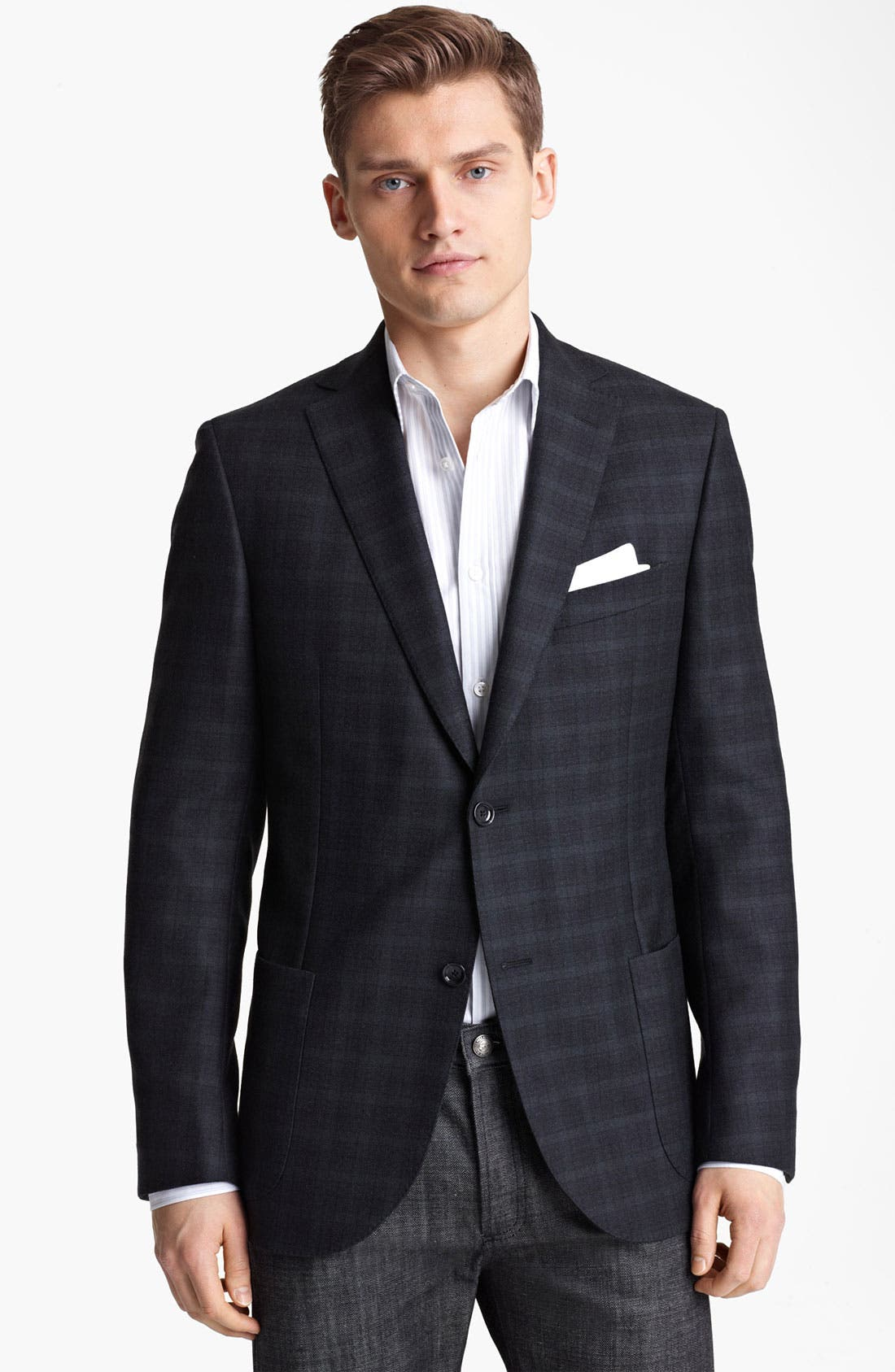 Main Image - Z Zegna Trim Fit Check Blazer