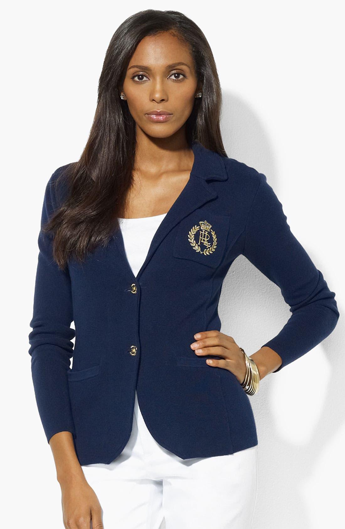 Main Image - Lauren Ralph Lauren Pocket Crest Blazer (Petite) (Online Exclusive)