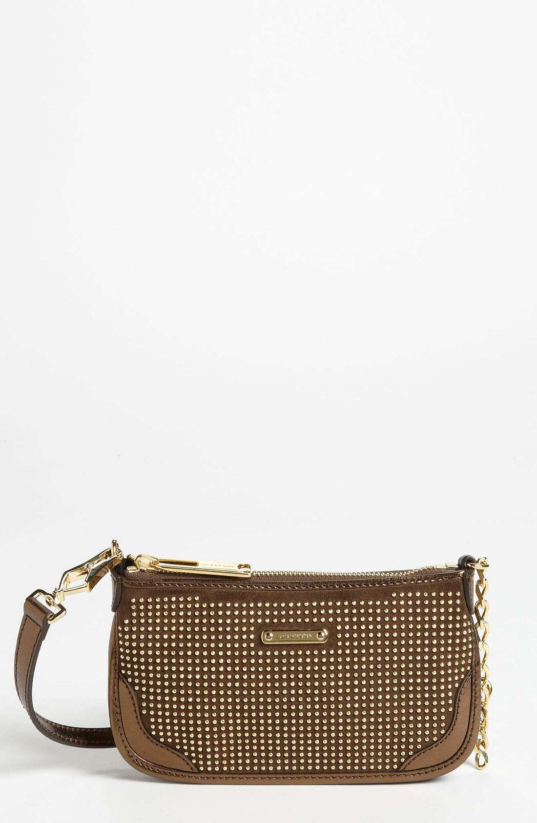 Main Image - Burberry 'Metallic Studs' Suede & Leather Pouch