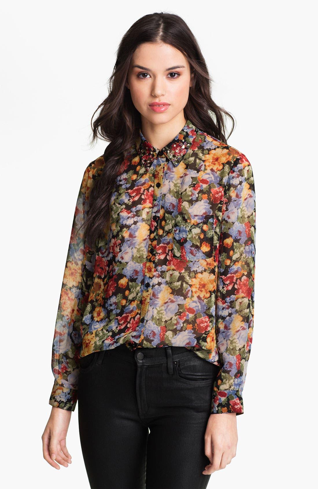 Main Image - Bellatrix Embellished Collar Print Chiffon Shirt