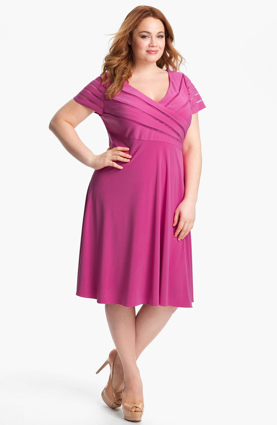 Alternate Image 1 Selected - Adrianna Papell Jersey Fit & Flare Dress (Plus Size)