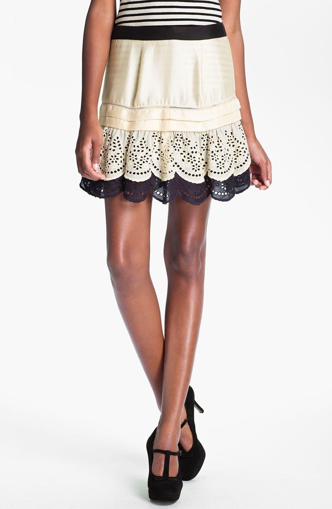 Main Image - Skaist-Taylor Eyelet Ruffle Silk Skirt