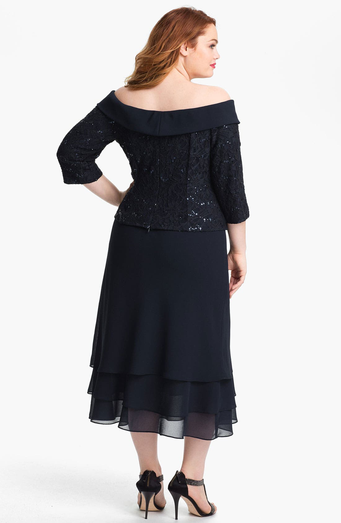 Alternate Image 2  - Alex Evenings Sequin Lace Top & Tiered Skirt (Plus)