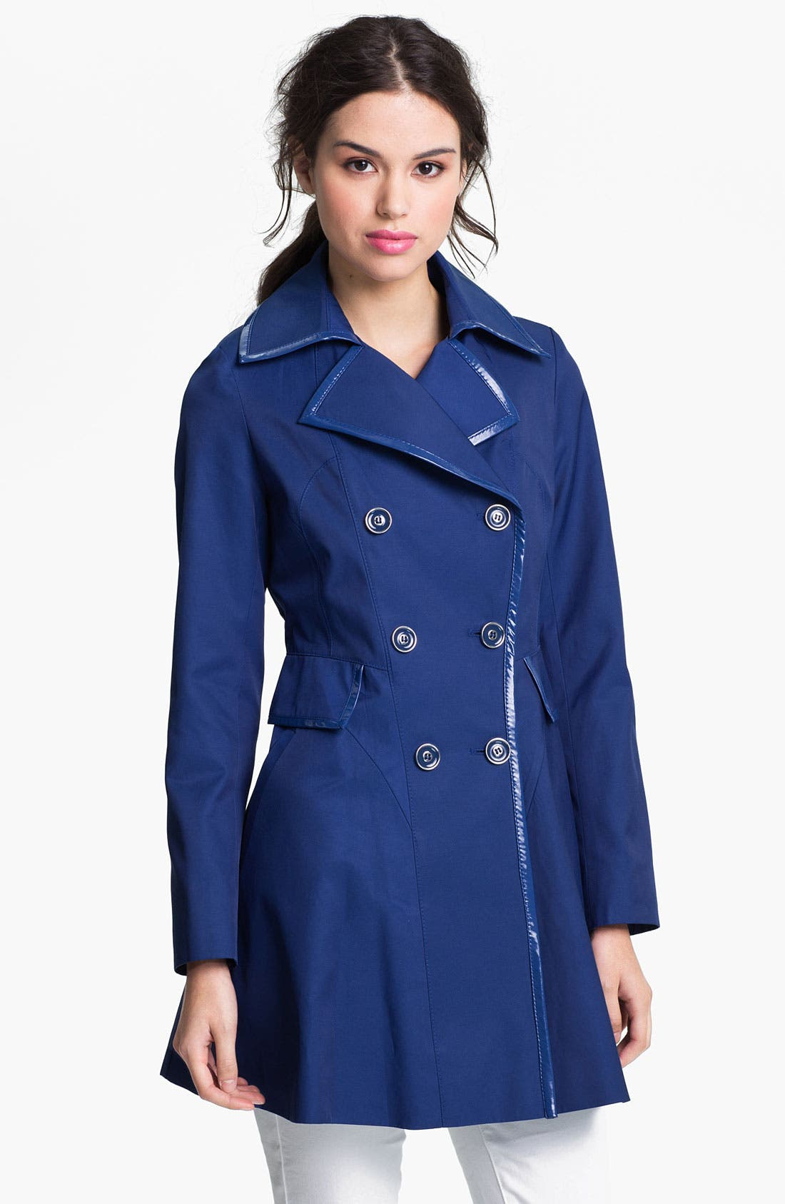 Main Image - Via Spiga Patent Trim Trench Coat (Regular & Petite) (Online Only)