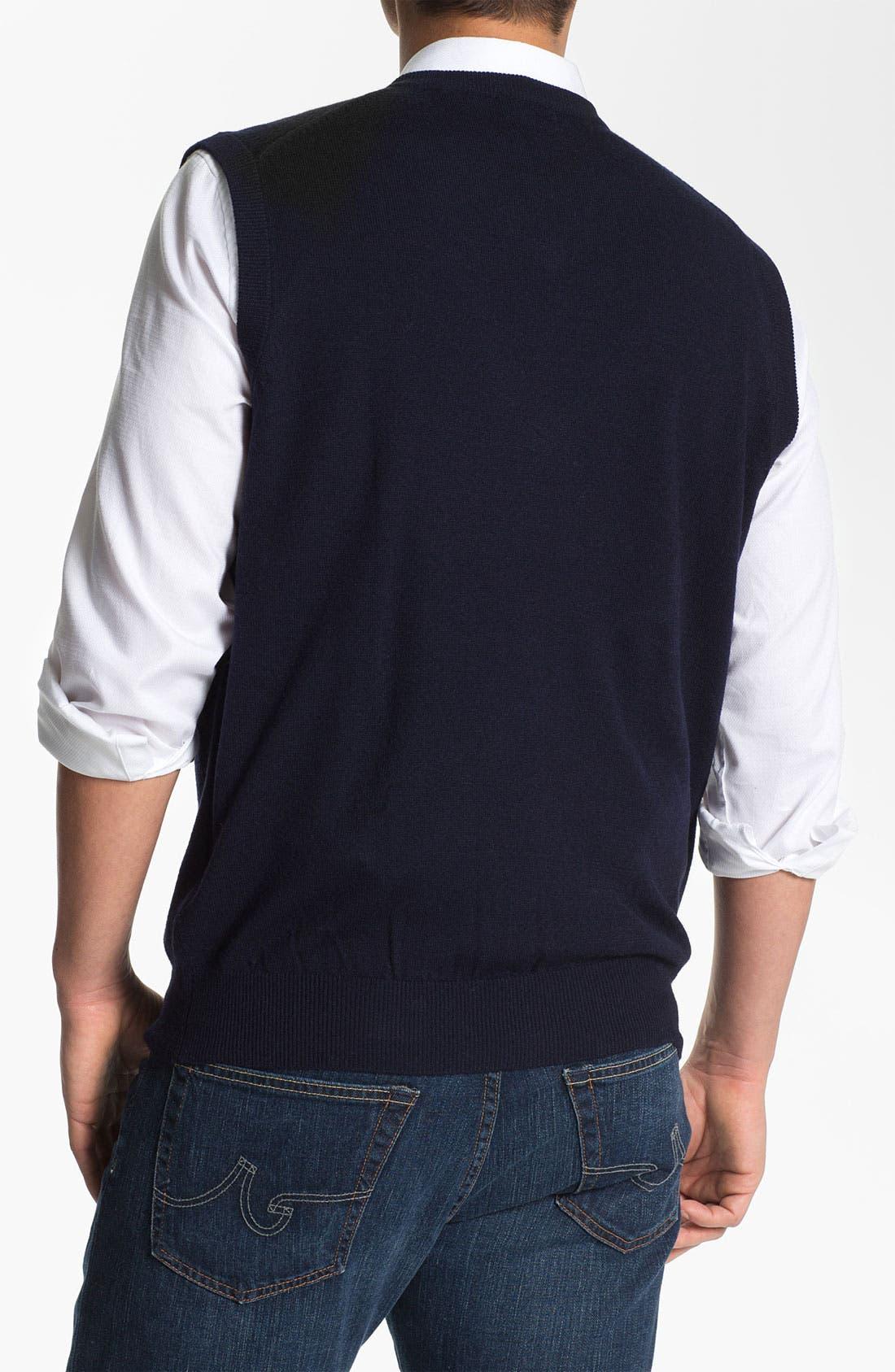 Alternate Image 2  - Toscano V-Neck Wool Blend Sweater Vest