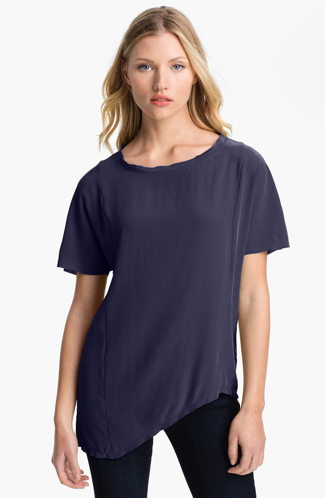 Main Image - Two by Vince Camuto Raw Edge Silk Tee