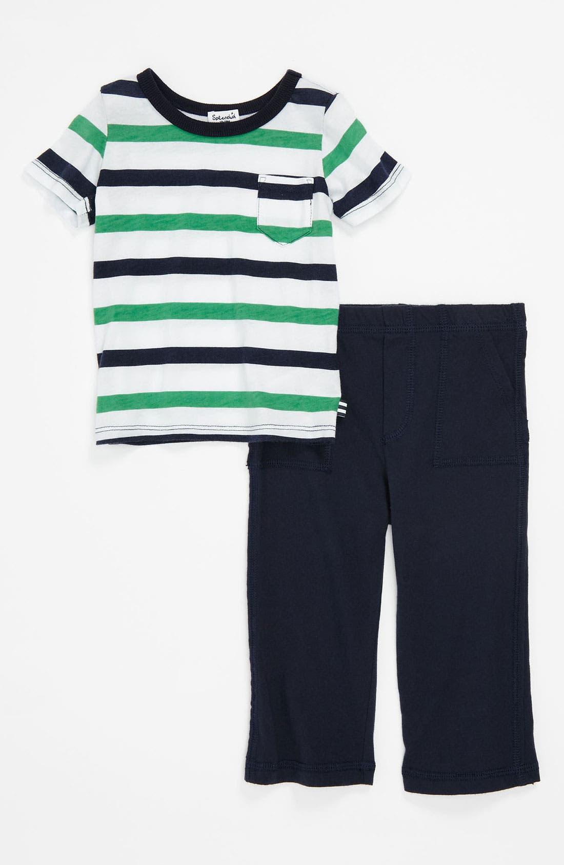 Main Image - Splendid Stripe Top & Knit Pants (Toddler)