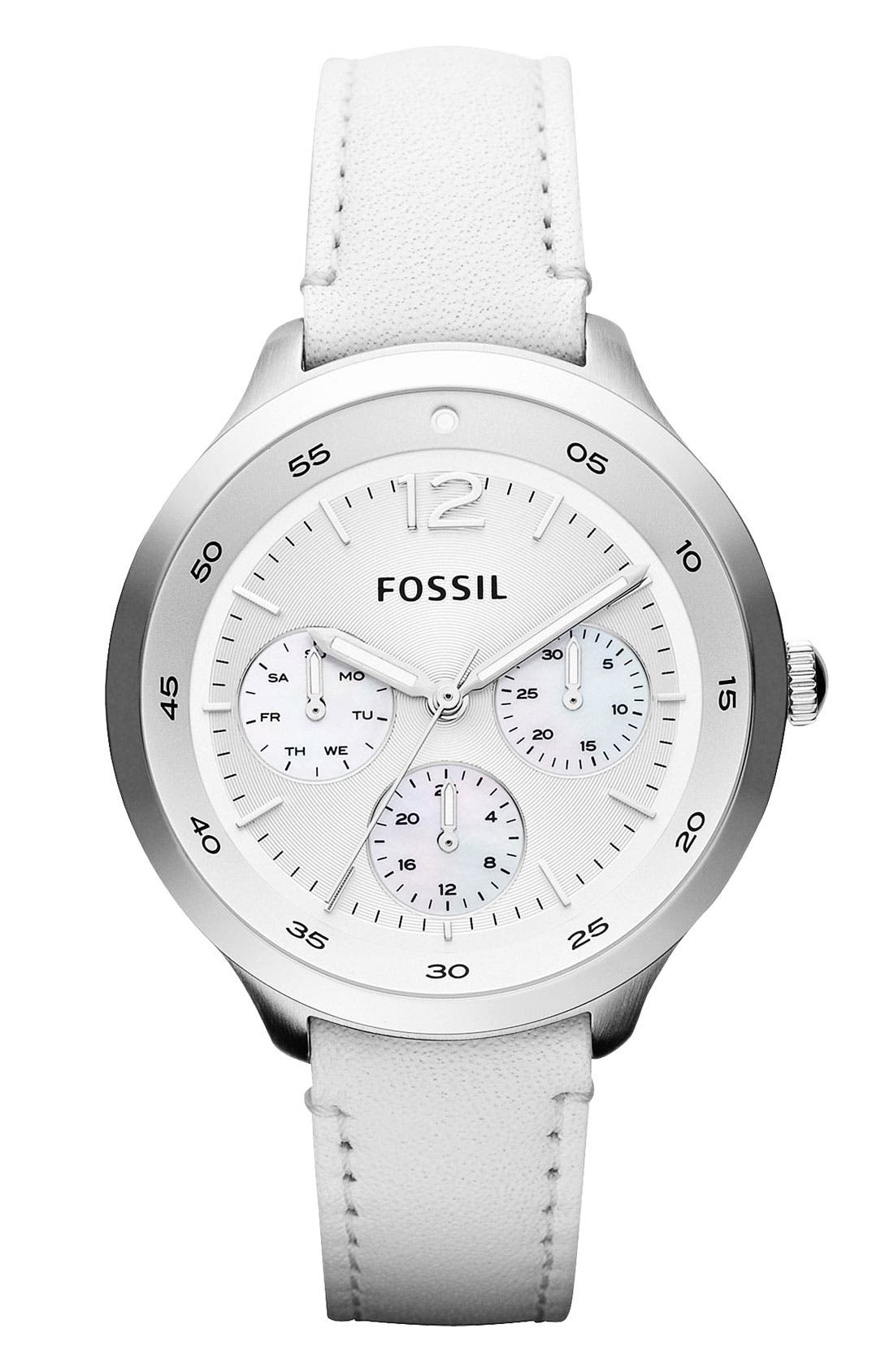 Main Image - Fossil 'Editor' Leather Strap Watch, 38mm
