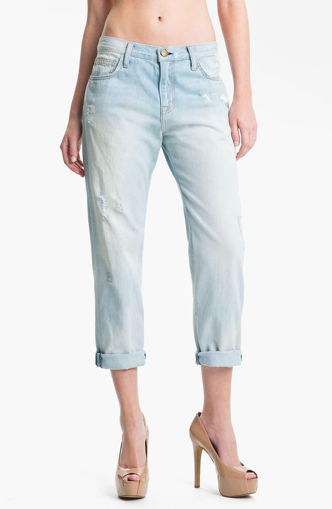 Main Image - Current/Elliott 'The Boyfriend' Distressed Jeans (Parlor/Destroy)