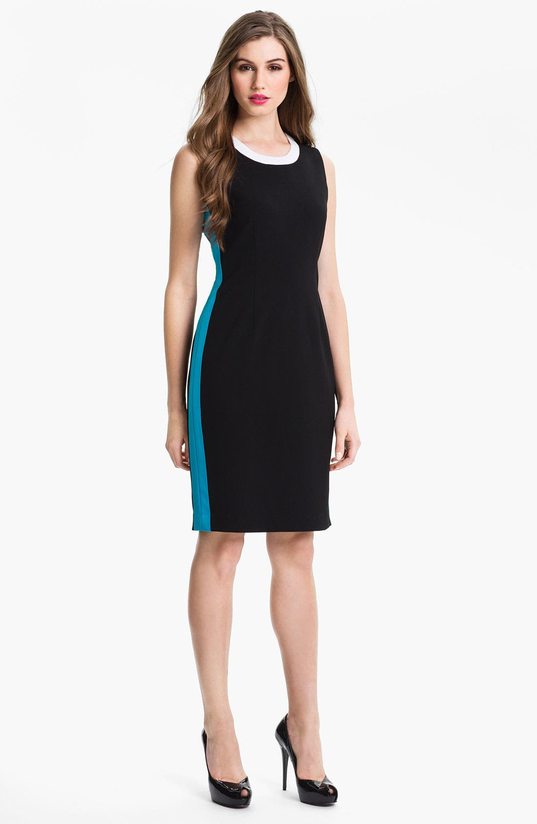 Main Image - Calvin Klein Contrast Trim Sheath Dress