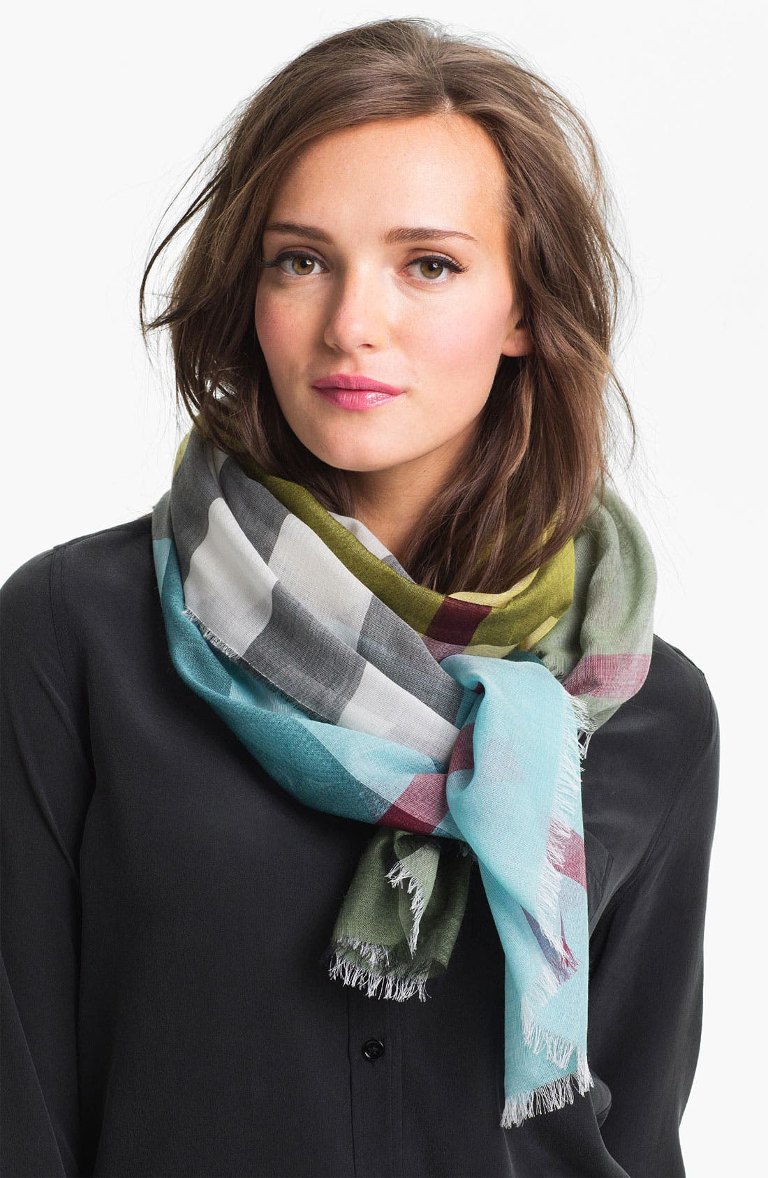 Alternate Image 1 Selected - Burberry Mega Check Stripe Scarf