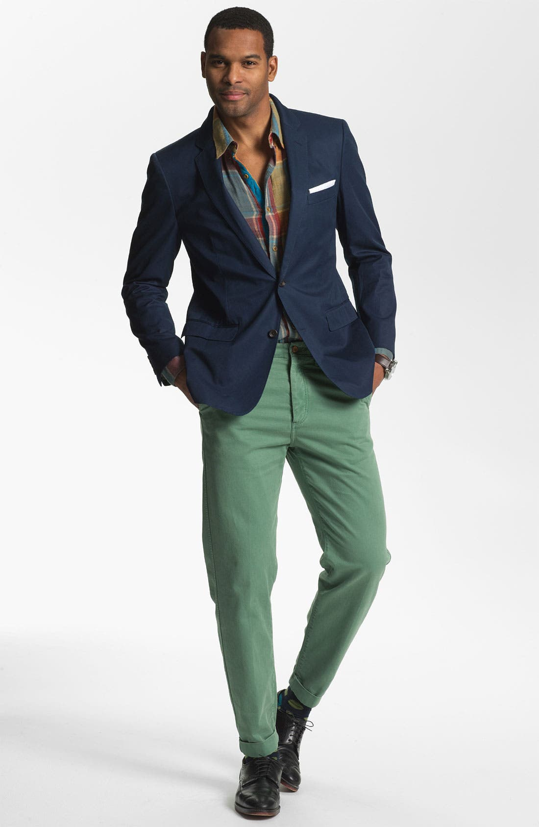 Cotton Blazer,                             Alternate thumbnail 4, color,                             Navy