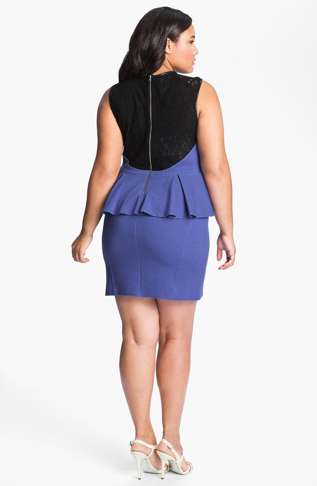 Alternate Image 2  - ABS by Allen Schwartz Lace Inset Peplum Sheath Dress (Plus Size)