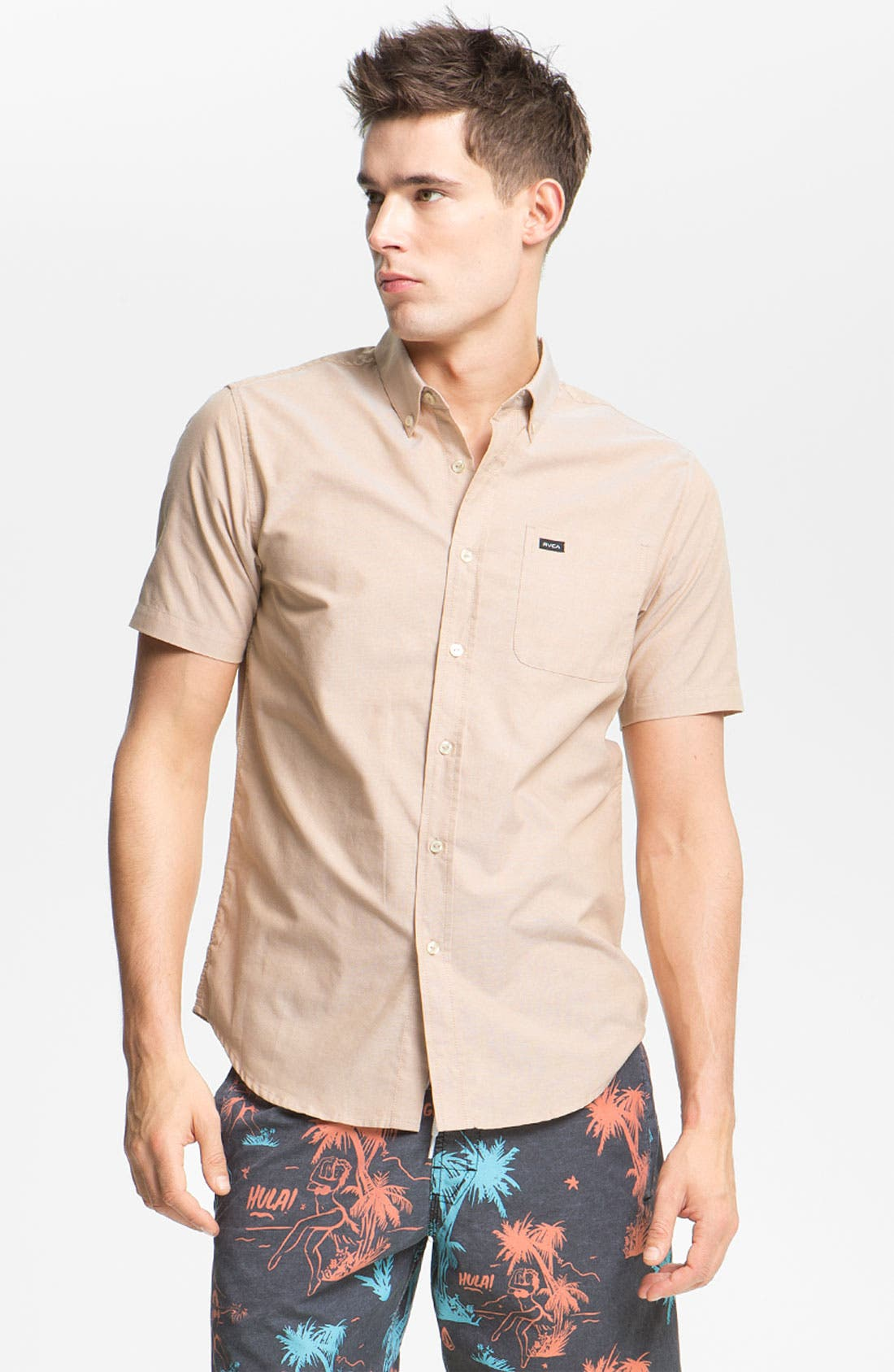 Alternate Image 1 Selected - RVCA 'That'll Do' Short Sleeve Oxford Shirt