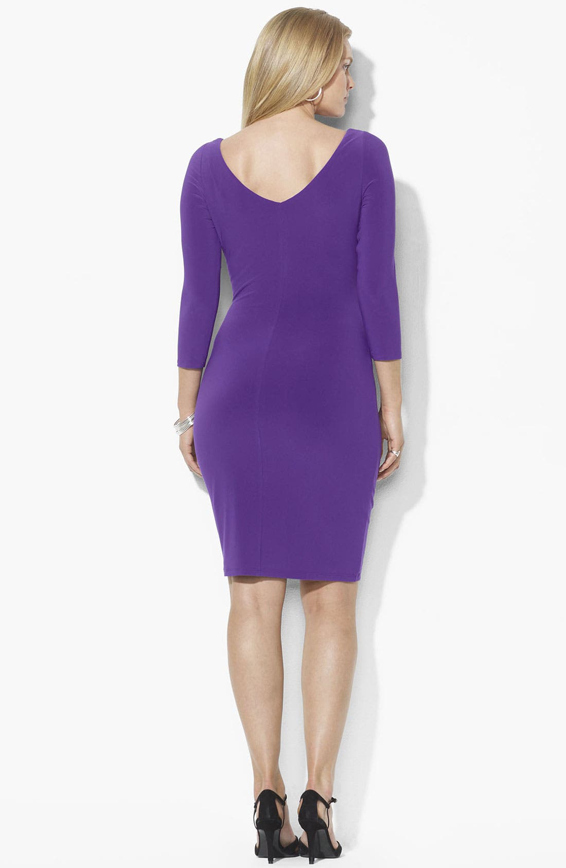 Alternate Image 2  - Lauren Ralph Lauren Twist Front Matte Jersey Sheath Dress (Plus)