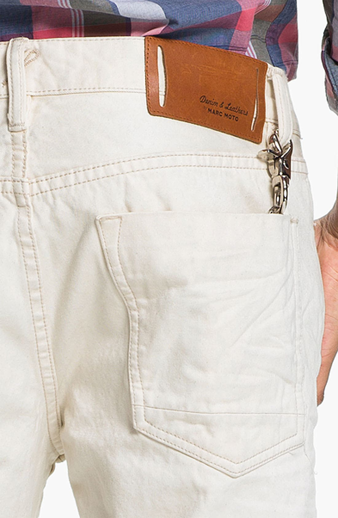 Alternate Image 4  - Denim & Leathers by Andrew Marc Straight Leg Jeans (White)