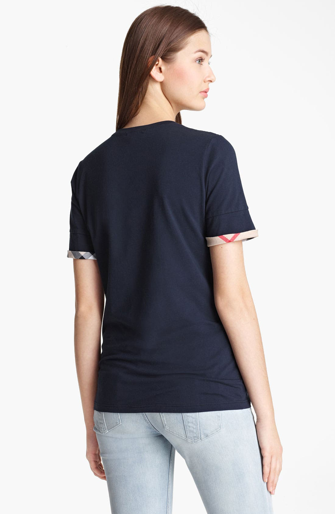 Alternate Image 2  - Burberry Brit Check Cuff Short Sleeve Top