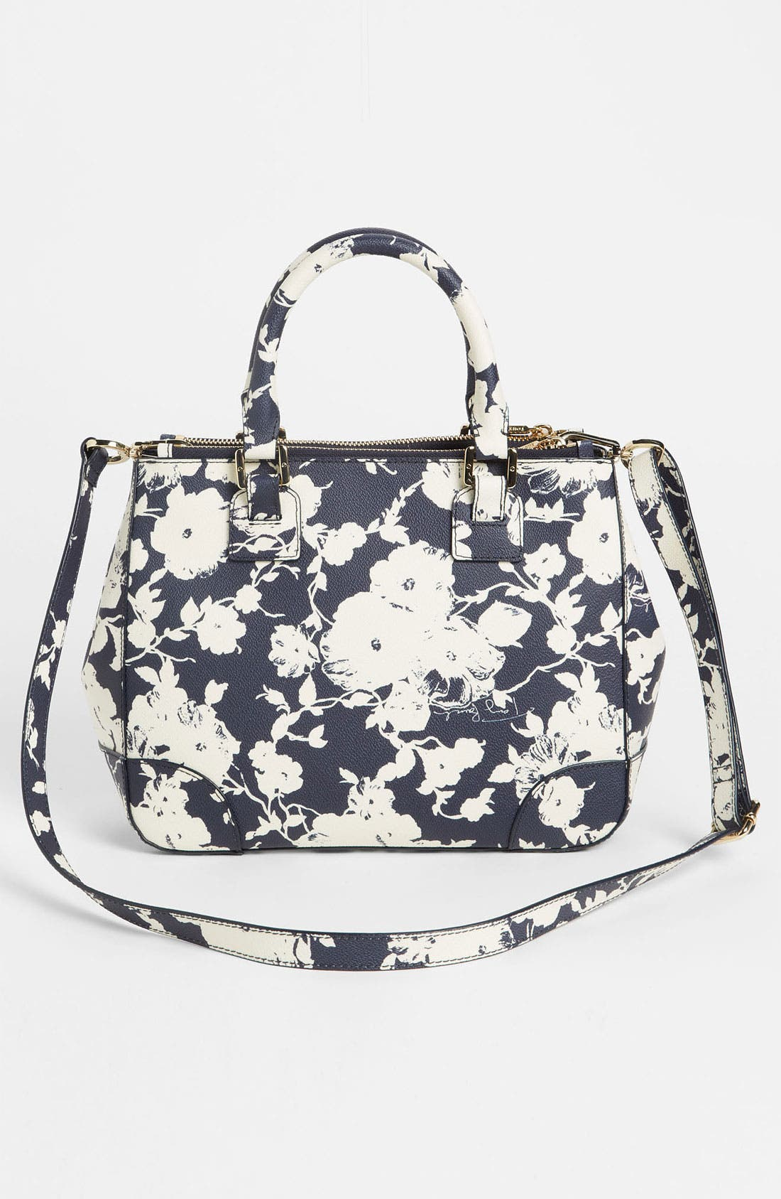'Robinson - Small' Double Zip Tote,                             Alternate thumbnail 4, color,                             Tory Navy