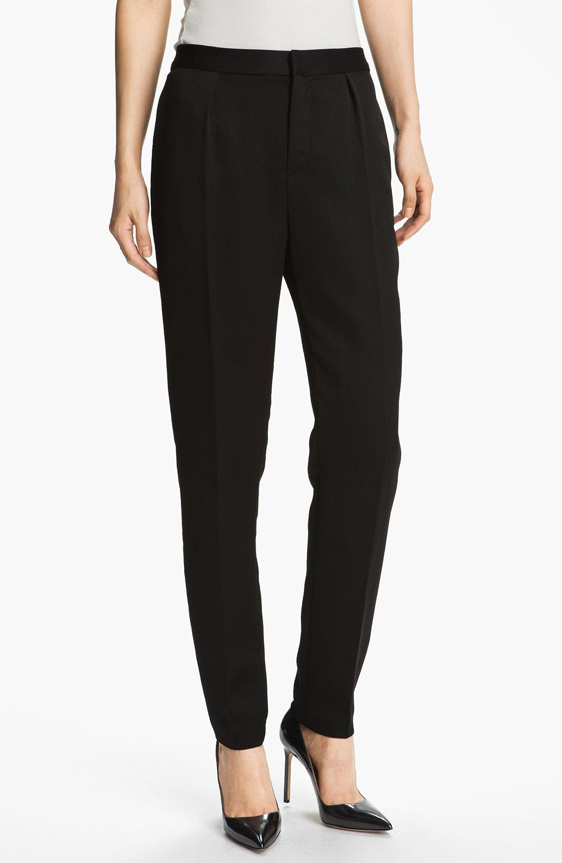 Alternate Image 1 Selected - T by Alexander Wang Tapered Shiny Crepe Trousers