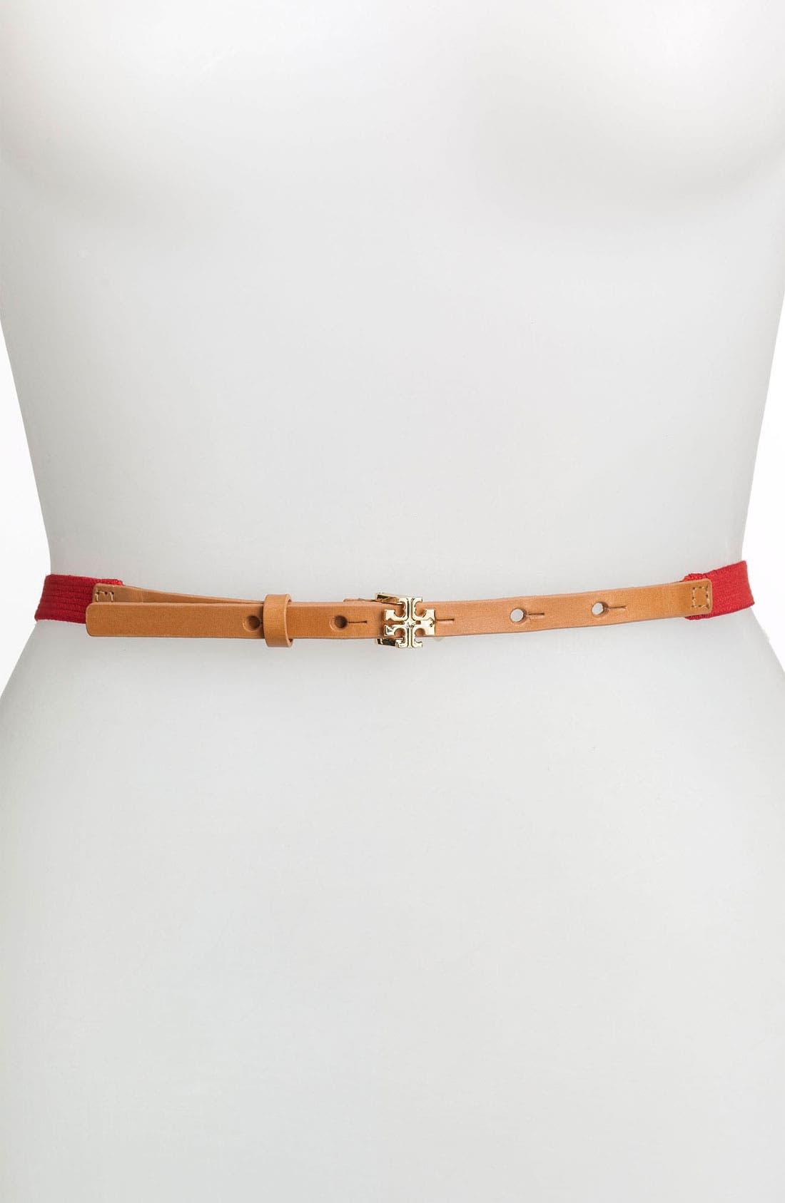 Main Image - Tory Burch 'Ultra Skinny' Stretch Webbing Belt