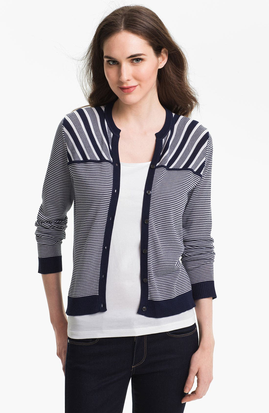 Main Image - Anne Klein Three Quarter Sleeve Stripe Cardigan
