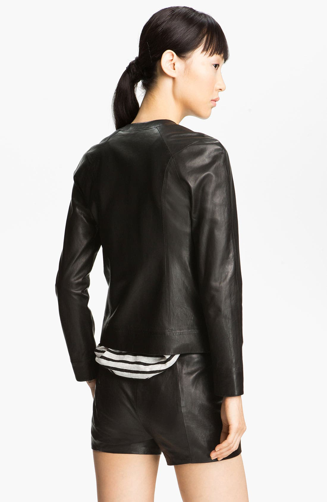 Alternate Image 4  - T by Alexander Wang Fitted Leather Jacket