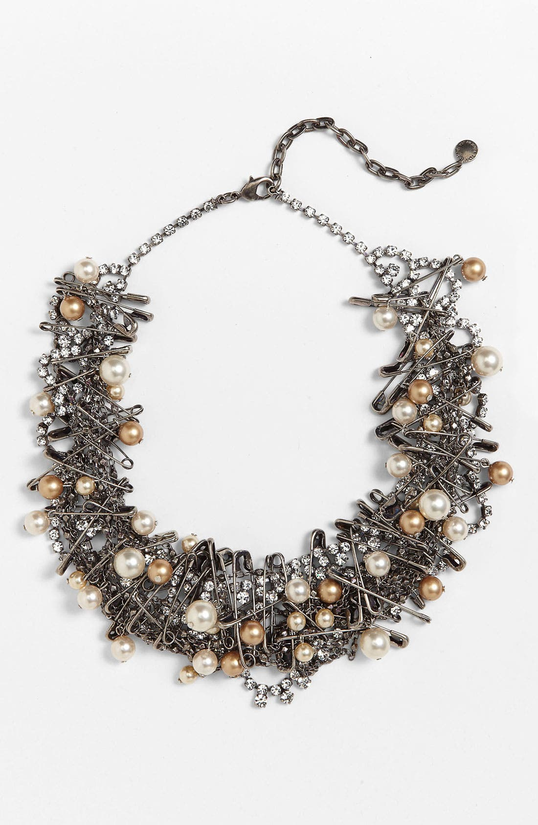 'Punk Chic Pearls' Statement Necklace,                         Main,                         color, Silver Multi