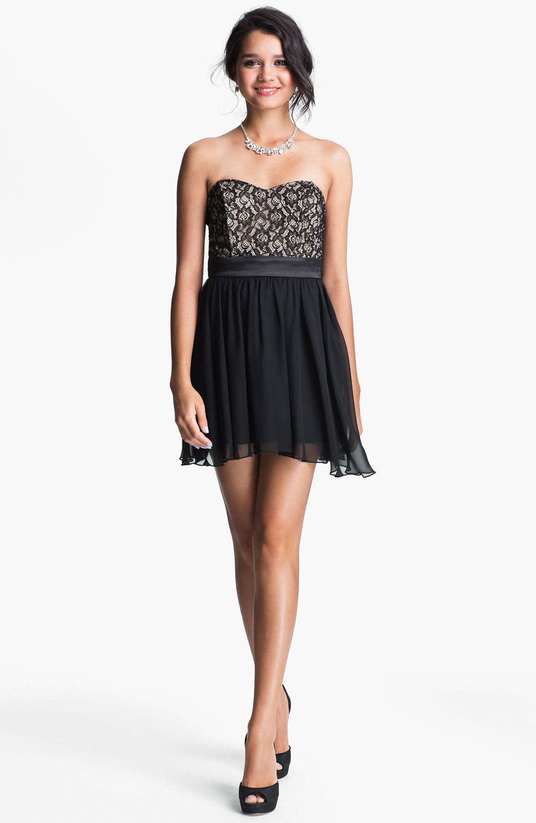 Main Image - Trixxi Strapless Lace & Chiffon Dress (Juniors)