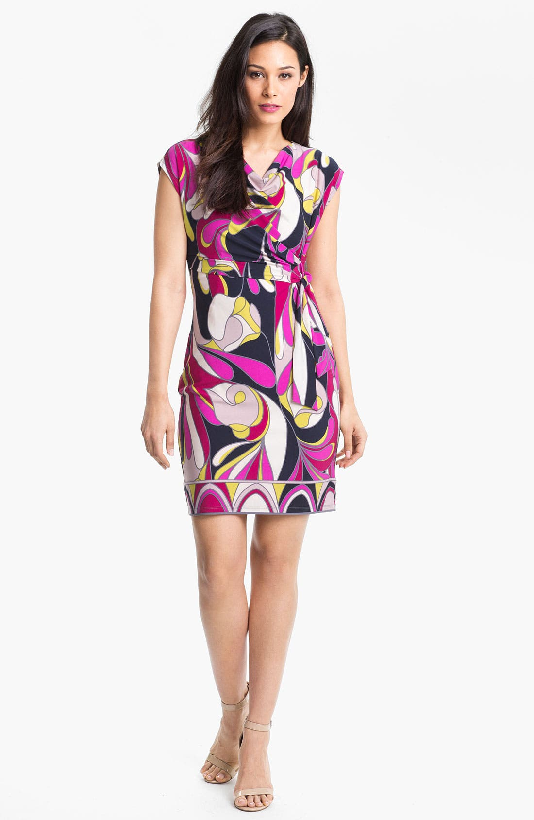 Main Image - Donna Morgan Cowl Neck Print Jersey Dress
