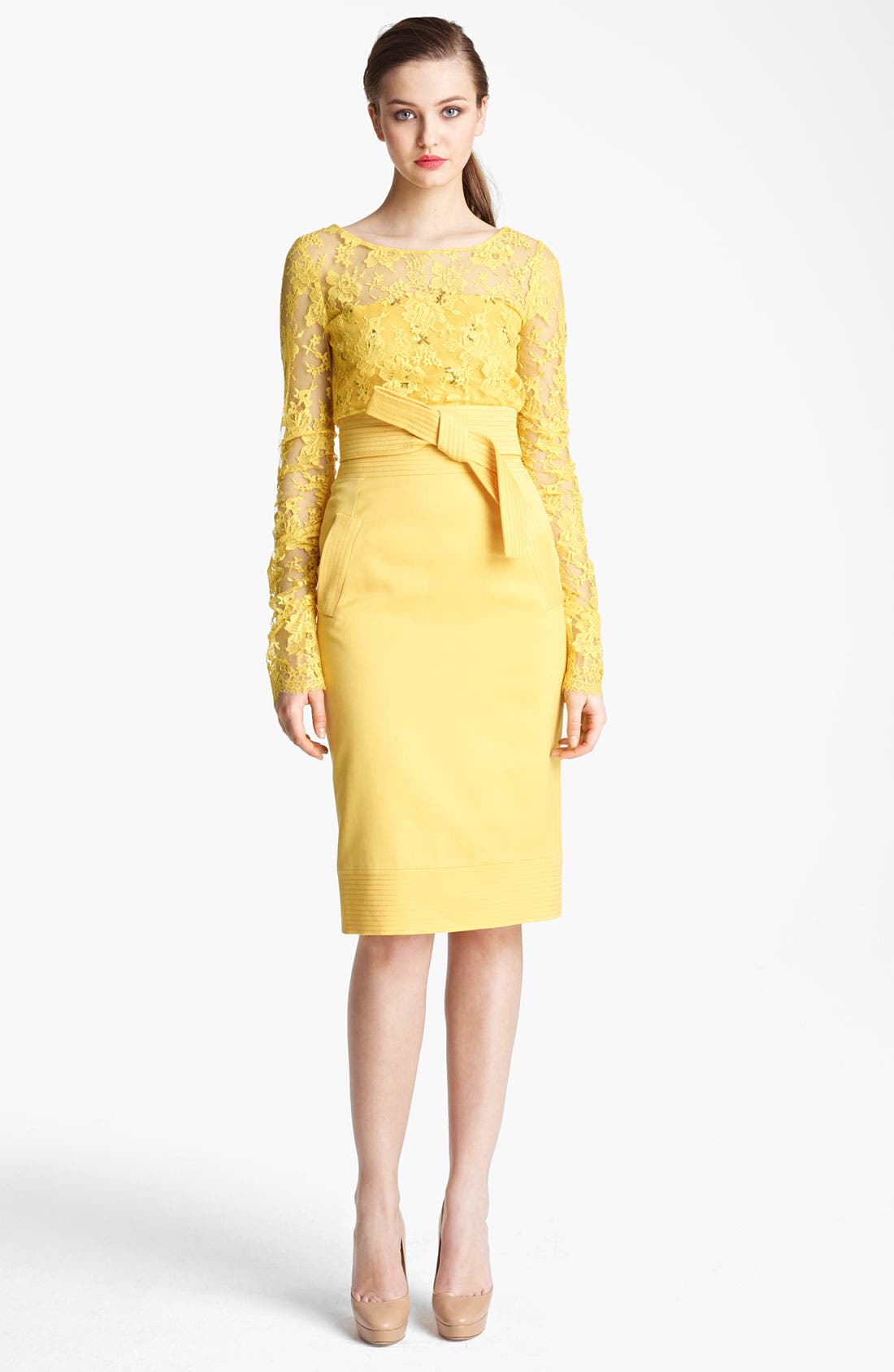Main Image - Oscar de la Renta Chantilly Lace Overlay Blouse